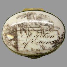 """18th Century Battersea Bilston enamel patch box """"Token of esteem"""" as is"""