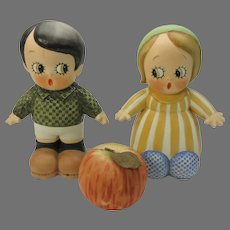 Huge pair of Chloe Preston Peek a Boo German bisque figures store display