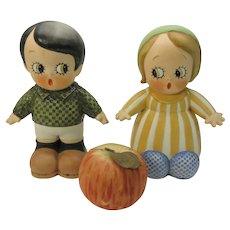 Huge pair of Chloe Preston Peek a Boo German bisque figures store display