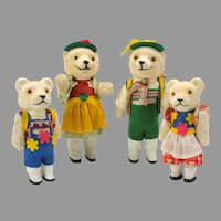 Vintage German US ZONE papier mache glass eyed dressed Teddy bear family of 4 figures