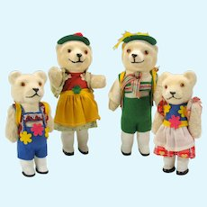 Vintage German US ZONE papier mache glass eyed dressed Teddy bear family of 4 figures