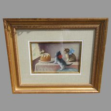 Fine antique watercolor painting of two kittens looking at a bird on a blancmange dessert
