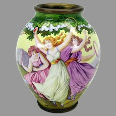 Antique Arts & Crafts enamel cabinet vase with 3 dancing ladies