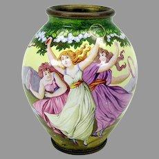 Antique Arts & Crafts enamel cabinet vase with 3 dancing ladies