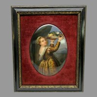 Antique KPM  hand painted porcelain plaque Girl with a basket of fruits Lavinia Titian's daughter