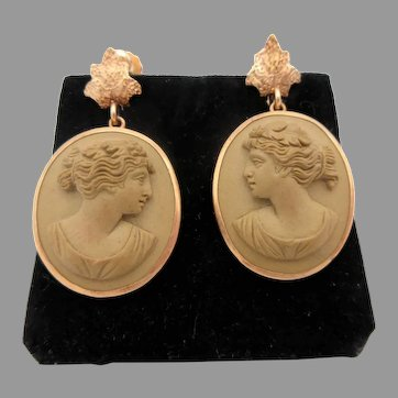 Pair of antique 14k gold mounted Pompeian carved Lava cameo earrings