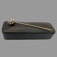 19th Century antique mine cut diamond stick pin set in 12k gold