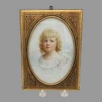 Superb quality 19th Century painting on porcelain of a little blonde girl