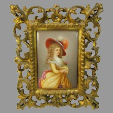 Antique hand painted porcelain portrait plaque of the Duchess of Devonshire signed Wagner