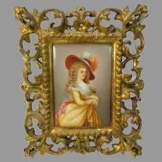 Antique hand painted porcelain portrait plaque of the Duchess of Devonshire signed Wagner