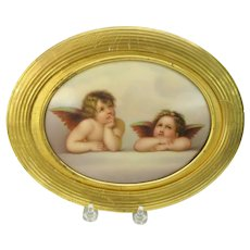 Large size antique hand painted porcelain plaque of Raphael's Angels