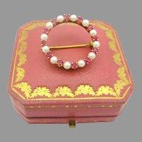 Vintage 18k gold pearl and ruby circle pin brooch