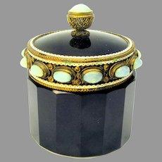Art Deco opalescent jeweled and enamel on black glass dresser powder jar box