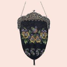 Large antique  bead work Ladies pocket book purse handbag with Pansies flowers