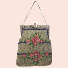 Antique bead work Ladies pocket book purse in dark grey with roses