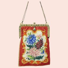 Unusual antique micro bead Ladies pocket book purse with jeweled frame