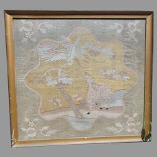 Fine early Chinese Qing embroidery with gold threads, deer and bird framed