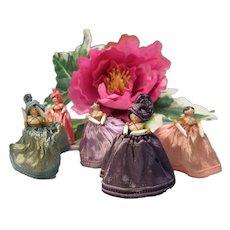 Set of 5 antique Grodnertal peg wooden dolls in original dresses and hats