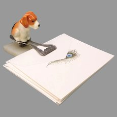 Royal Doulton porcelain Beagle puppy dog figurine HN 831 mounted on sterling silver letter clip holder 1923