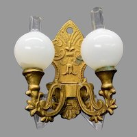 Antique gilded soft metal doll house miniature wall sconce with glass shades