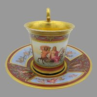 Antique 1830 Giovine in Napoli porcelain cabinet cup and saucer with Mermen