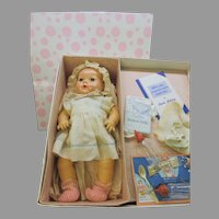 "Vintage 15"" Effanbee Dy-Dee baby doll in original box with applied ears"