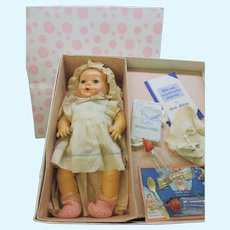 """Vintage 15"""" Effanbee Dy-Dee baby doll in original box with applied ears"""