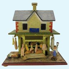 Antique Gottschalk blue roof Bull Butcher shop doll house