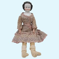 19th Century covered wagon china head doll with textured hair and great outfit 16 1/2""