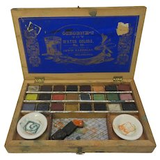 Early American Osbourne watercolor paint box with great graphics and paint blocks Number 18