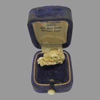 Superb vintage 14k gold and emerald Big Cat statement ring size 9