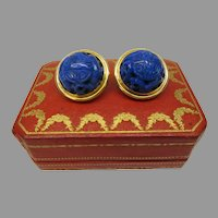 """Large vintage 18k gold Chinese carved Lapis Lazuli clip on earrings 1"""" wide"""