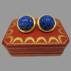 "Large vintage 18k gold Chinese carved Lapis Lazuli clip on earrings 1"" wide"
