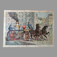 Antique McLoughlin American horse drawn Fire Engine jigsaw puzzle in the original box