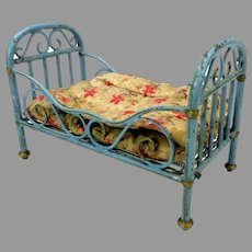 Antique blue painted Marklin doll house bed with springs and mattress with cover