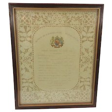 Framed 1889 Buckingham Palace Opera evening program Enrico Stinco-Palermini Baritone