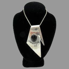 Artisan Beverly Fagan Modernist large sterling silver pendant with onyx