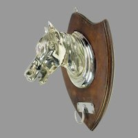 Big antique silvered bronze figural horse head wall plaque hook for riding tack, hats coats or leashes