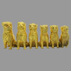 Antique Victorian gilded bronze group of seated Pug dog figurine