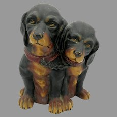 Antique Austrian JM painted terracotta tobacco jar of 2 Dachshund dog puppies