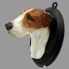 Vintage Royal Doulton porcelain Foxhound Dog head wall mount plaque SK 25