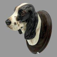 Vintage Royal Doulton porcelain Black & white Cocker Spaniel Dog head wall mount plaque unknown color prototype