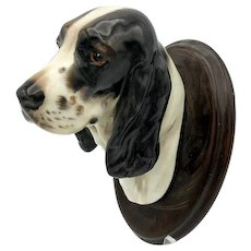 Vintage Royal Doulton porcelain Black & white Cocker Spaniel Dog head wall mount plaque unknown color prototype