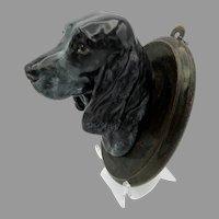 Vintage Royal Doulton porcelain Black Cocker Spaniel Dog head wall mount plaque SK 24