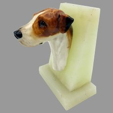 1930's Royal Doulton china Foxhound dog head wall mount plaque on marble plinth SK 25