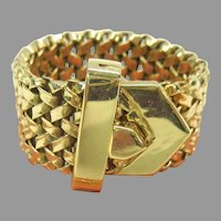 Vintage wide 14k gold adjustable belt buckle ring up to size 8 weighing 10.4 grams