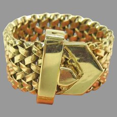 Vintage wide 14k gold adjustable belt buckle ring up to size 8 weighing 10.4 grams