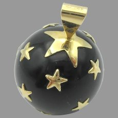 Large vintage 14k gold & Onyx Celestial ball pendant with stars