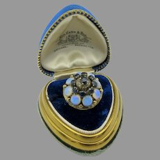 Luminous antique 12k gold Princess ring with opals and sapphires size 6 3/4