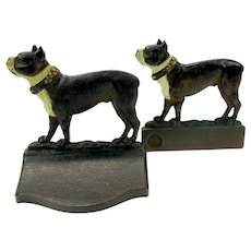 Outstanding antique Bradley & Hubbard cast iron bookends of Boston terrier dogs in original paint